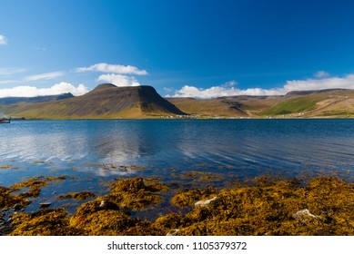 Mountain landscape seen from sea in isafjordur, iceland. Hilly coastline on sunny blue sky. Summer vacation on scandinavian island. Discover wild nature. Wanderlust and travelling concept.