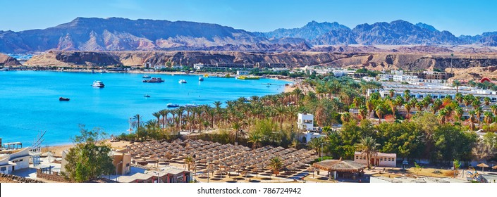 The mountain landscape of Sharm El Sheikh helps to overlook the city from the different angles, Sharm El Maya district looks great from the top, Egypt.