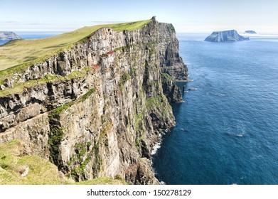 Mountain landscape in Skuvoy in the Faroe Islands
