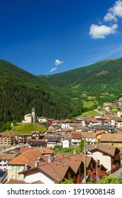 Mountain landscape at summer along the road to Mortirolo pass, in Brescia province, Lombardy, Italy. View of Monno