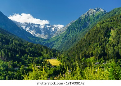 Mountain landscape at summer at Vezza d Oglio, in Brescia province, Lombardy, Italy