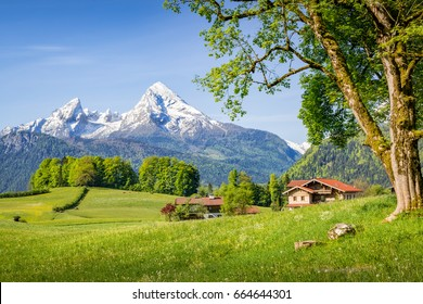 Mountain landscape in summer with Watzmann, Bavaria, Germany