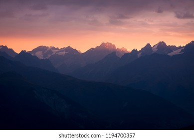 Mountain landscape. Sunset with beautiful light. Zemo Svaneti, Georgia. View from Mount Mkheer