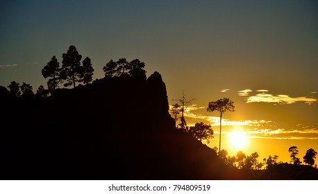 Mountain landscape at sunset, natural reserve of Pilancones in Gran canaria, Canary islands, Spain