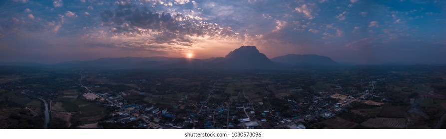 Mountain landscape at sunset. Panorama of beautiful view on hills