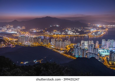 Mountain landscape at sunset time in downtown of Ma on shan,Hongkong