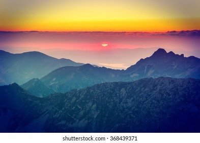 Mountain landscape with sunset. View from High Tatra Mountains in Poland.