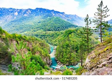 Mountain landscape. Tara River Canyon, Durmitor National Park, Montenegro.