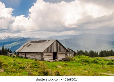 Mountain landscape in the Ukrainian Carpathians
