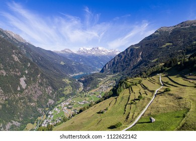 Mountain landscape, valley of Poschiavo, Grison canton in the Swiss Alps