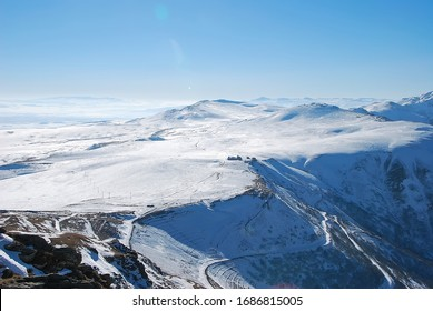 Mountain landscape, view from Didveli mountain in Bakuriani, Georgia. Landscape at ski resort
