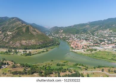 The mountain landscape view from Jvari on confluence of Mtkvari (Kura) and Aragvi rivers, Georgia.
