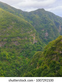 Mountain landscape. View of mountains on the route Queimadas Forestry Park - Caldeirao Verde. Madeira Island, Portugal, Europe.