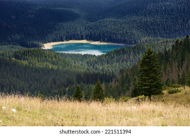 Mountain landscape with a view on Black Lake in Durmitor National Park - Montenegro