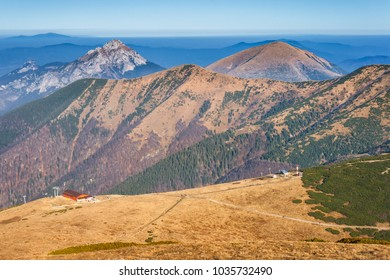 Mountain landscape in the Vratna valley at the national park Mala Fatra, Slovakia, Europe.