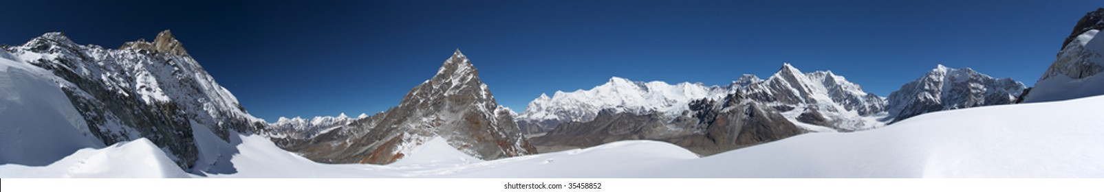 Mountain landscape wide panorama, Himalayas