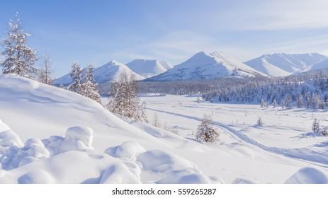 Mountain landscape in the winter in the Magadan region