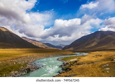 Mountain landscapes of Kyrgyzstan. Burkan River Valley. Autumn in the mountains of Kyrgyzstan.