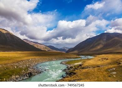 Mountain landscapes of Kyrgyzstan. Burkan River Valley. Autumn in the mountains of Kyrgyzstan.