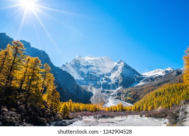 Mountain landscape,Snow Mountain in daocheng yading,Sichuan,China.