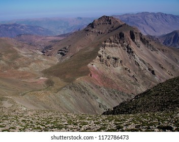 Mountain lanscape with red earth and high peaks in the Atlas Mountains, Morocco