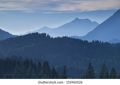 mountain layers in the dusk, Bavarian Alps, Germany