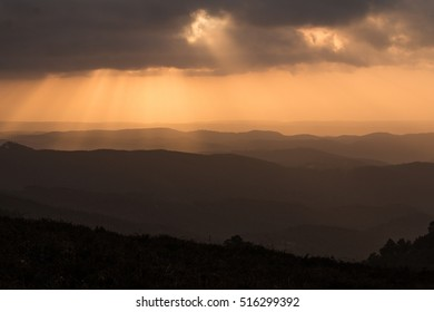 Mountain layers in the sunset in the Algarve region.