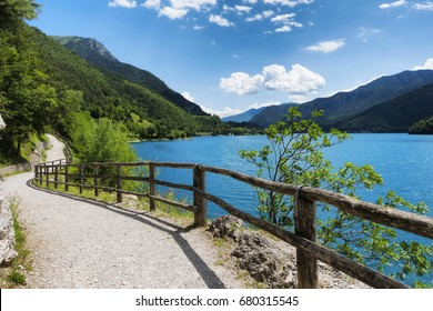 Mountain Ledro lake and his bike path in the Italian Dolomites
