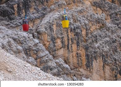 The mountain lift Cristallo dolomites Italy