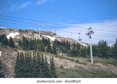 Mountain lift on a hill with snow and pine trees