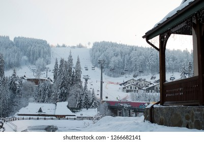 mountain lift resort Bukovel, mountain theme and sports, skiing, ski track 2A