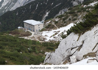 Mountain lodge Pietro Galassi in the middle of the Italian Alps. View of the refuge from the outside