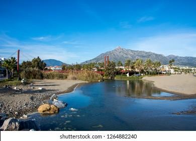 Mountain in Marbella Landscape Background. Rio Verde River.