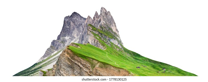 The mountain massif of Odle (Dolomites, Italy) seen from Seceda and isolated on white background