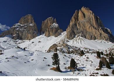 Mountain Massif of The Ski Area Sella Ronda, Dolomiti, Italy