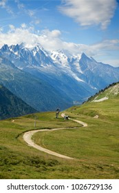 A mountain meadow at Col del Balme in Chamonix valley on France - Switzerland border
