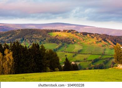 Mountain meadows at sunset (Krkonose, Czech Republic)