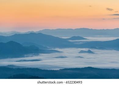 Mountain mist before sunrise
