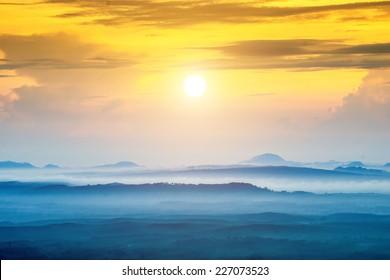Mountain and mist at Kra-bi, Thailand