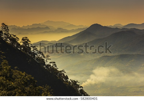 Mountain and mist in the nature.