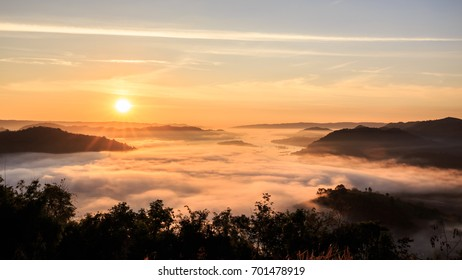 Mountain Mist at Sunrise, Phu Huay Isan, Nongkhai, Thailand