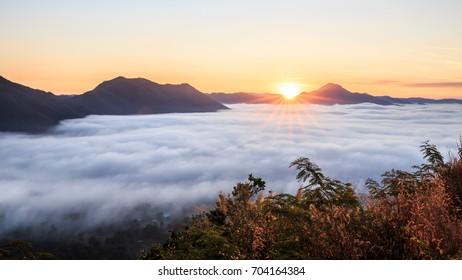 Mountain Mist at Sunrise time ,phu tok, Chiang Khan in Loei, Thailand