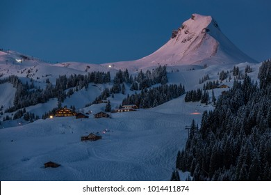 """Mountain """"Mittagspitze"""" in the evening sun"""