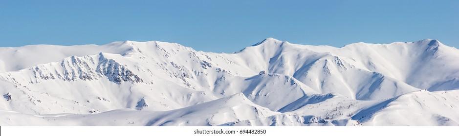 Mountain, morning, winter, snow landscape in the Magadan Region