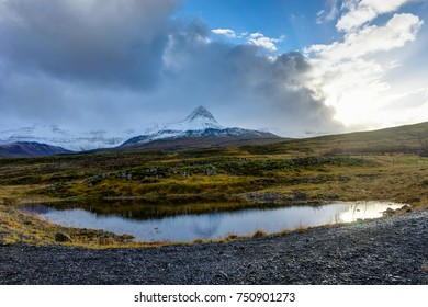 Mountain nature view Iceland during Sunset sky Clouds snow cappe
