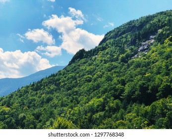 The mountain near Willey Pond on saco river at Crawford Notch in the White Mountains of New Hampshire United States.