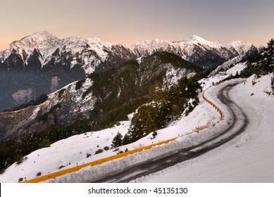 Mountain night with snow and ice on road in Mt. Hehuan,Mt. Cilai, Taiwan, Asia.