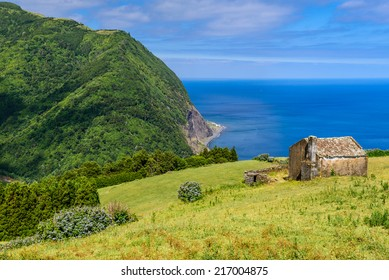 Mountain and ocean landscape Azores, Sao Miguel, Portugal, Europe