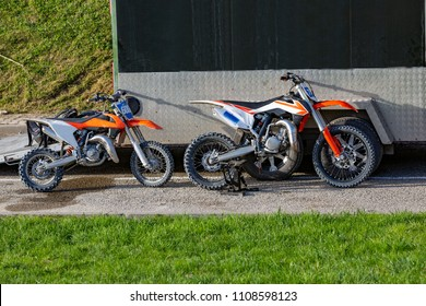mountain off-road motorcycles in the parking
