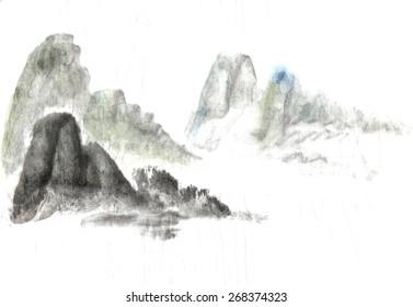 mountain on the horizon